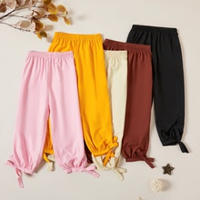 Kids Girl Solid Thin Strappy Narrow Ankle Pants