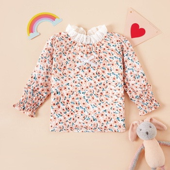 Baby Girl Sweet Floral Shirt Cute Long-sleeve Smock