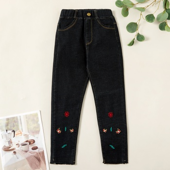 Stylish Butterfly Embroidered Denim Pocket Jeans