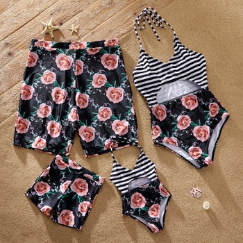 Floral Print Striped Cutout One-piece Family Matching Halter Swimsuits