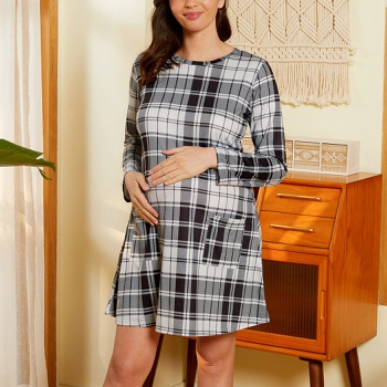 Maternity Round collar Plaid full print Grey Short A Long-sleeve Dress