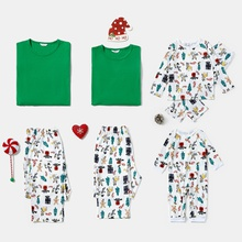 Family Matching Cute Cartoon Gingerbread Man Print Christmas Pajamas Sets (Flame Resistant)