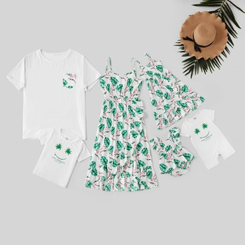 Mosaic Family Matching Leaf Series 100% Cotton Sets ( Tank Dresses - Rompers - Tops)