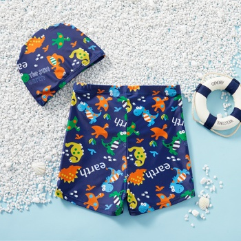 Kids Dinosaur Allover Shorts with Hat Swimsuit