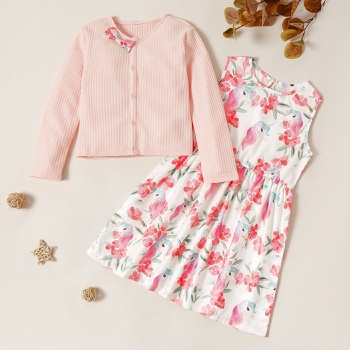 Trendy Button Knitted Longsleeves Sweater and Unicorn Allover Print Sleeveless Dress Set