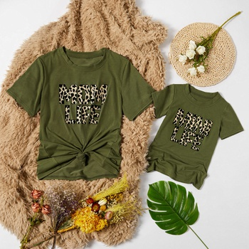 Leopard Letter Print Dark Green Tops for Mom and Me