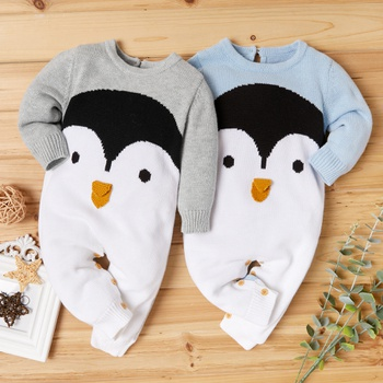 Baby Penguin Knitted Jumpsuits