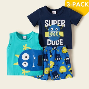 3pcs Baby Boy Sleeveless Stylish school Baby's Sets
