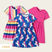 3-piece Unicorn Allover Striped Print Solid Dresses