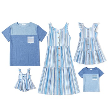 Mosaic Family Matching Casual Sets ( Striped Tank Dresses - Colorblock Short Sleeve Shirts - Rompers )