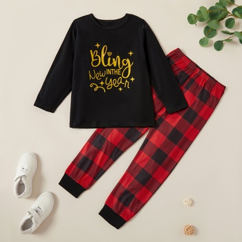 Trendy New Year Letter Tee and Plaid Pants Set