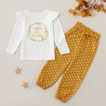 Trendy Letter Print Flare-sleeve Long-sleeve Tee and Polka Dots  Bowknot Pants Set