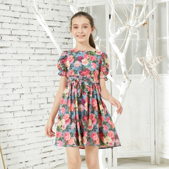 Pretty Floral Allover Print Bowknot Dress