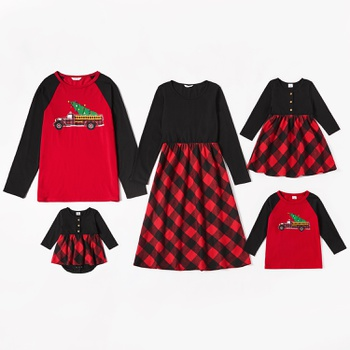 Mosaic Christmas Series Family Matching Sets (Plaid Dresses - Raglan Long Sleeve T-shirts -Rompers)