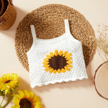 1pc Baby Girl Sunflower Embroidery Cotton Top Baby Clothes