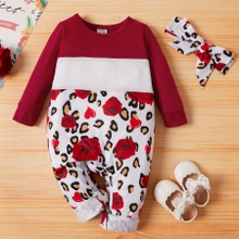Baby Girl Sweet Rose and Leopard Jumpsuit