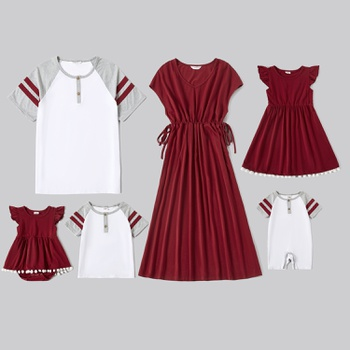 Mosaic Family Matching Red and White Series Sets(V-neck Dresses - T-shirts - Rompers)