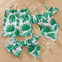 Family Look Leaf Print Ruffle Off-shoulder One-piece Matching Swimsuits