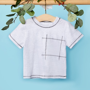 1pc Baby Short-sleeve Cotton Unisex Avant-garde Stripes Tee