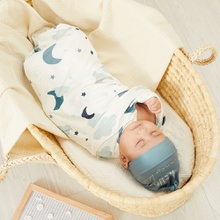 2 Pcs Cotton Stripe Cartoon Stars Cloud Baby Blanket and Hat Bedding Sleeping Bag Infant Gift Baby Swaddle Blanket