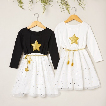 Beautiful Golden Stars Decor Mesh Long-sleeve Dresses