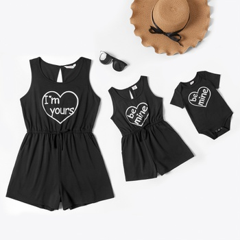 Solid Letter Print Tank Rompers for Mommy-girl-baby