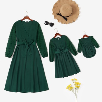 Solid Dark Green Mesh Sleeve Matching Midi Dresses