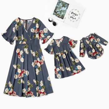 Mommy and Me Floral Print Short-sleeve Dresses