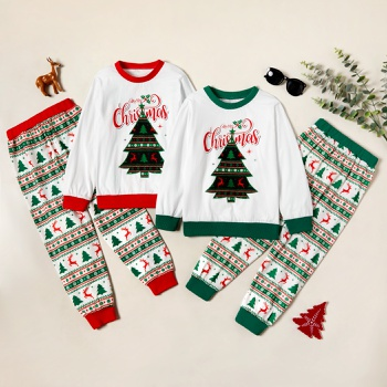 Trendy Christmas Tree Letter Print Sweatshirt and Allover Striped Pants Set