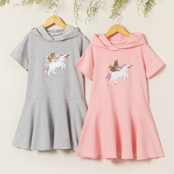 Kid Girl Pretty Sequined Unicorn Decor Hooded Dress