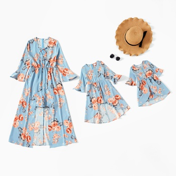 Floral Print Long-sleeve Matching Blue Maxi Romper Dresses