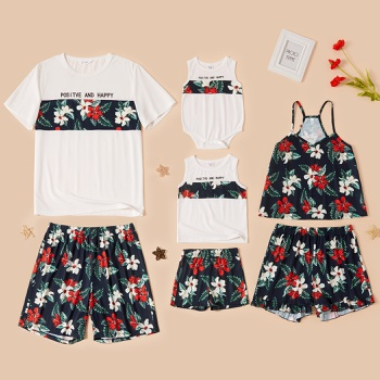 Family Floral Print Stitching Matching Pajamas Set(Flame Resistant)