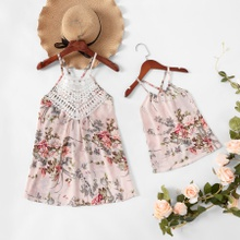 Floral Print Cross Back Sling Tops for Mommy and Me