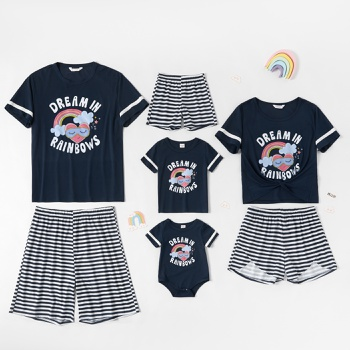 Family Matching Heart-shaped Rainbow Letter Print Top and Striped Shorts Pajamas Sets (Flame Resistant))