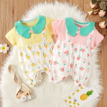 Baby Doll Collar Floral Print Short-sleeve False Two-piece Romper