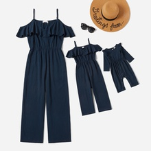 Flounce Off-shoulder Solid Jumpsuits for Mommy-girl-baby
