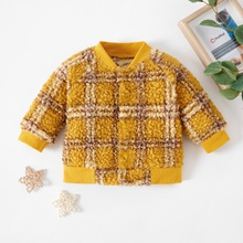 1pc Baby Long-sleeve Cotton Unisex Avant-garde Plaid Coat & Jacket