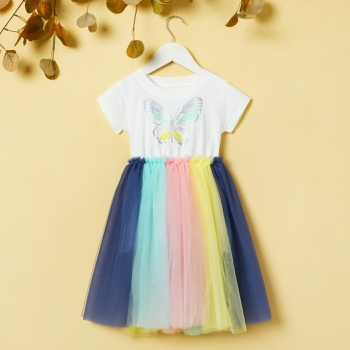 Toddler Girl Solid Colorful Butterfly Knitted Dress