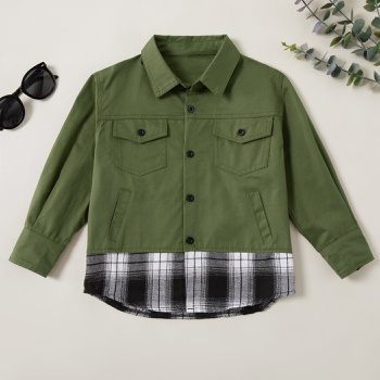 Stylish Pocket Lapel Collar Plaid Faux-two Overall Jacket