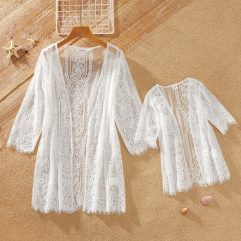 Casual Hollow Lace Cardigan Style Beach Cover Up for Mommy and Me