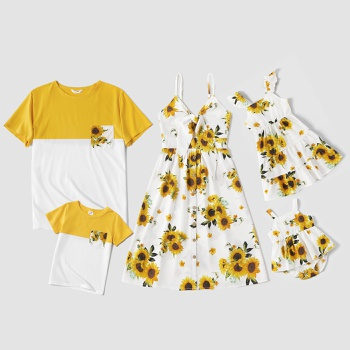 Sunflower Print Family Matching White and Color Block Sets