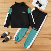 Kid Boy Zip Half Sweatshirt & Sweatpants Set