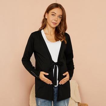 Maternity Plain Black Coat