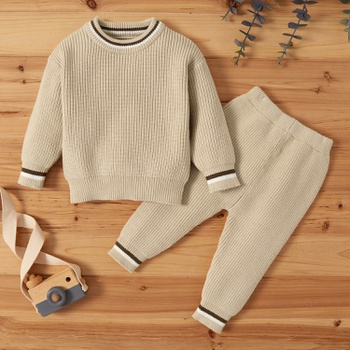 2pcs Baby casual Stripes Baby's Sets Solid Cotton Knitted Sets Kids Soft Autumn Winter Cloth
