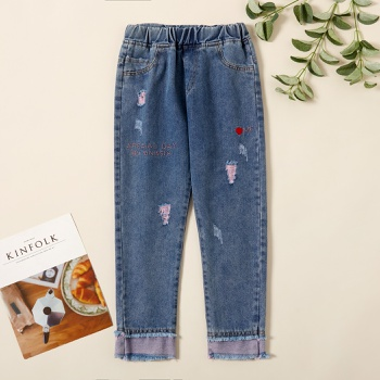 Beautiful Denim Tasseled Elasticized Jeans