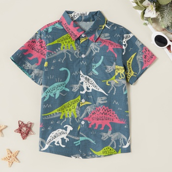 Trendy Dinosaur Allover Plaid Print Polo Shirt