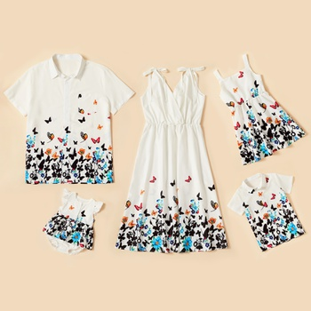 Butterfly Floral Series Family Matching Sets(Bow Tie Shoulder Dress for Women - Button Front Shirts -  Rompers)