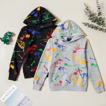 Stylish Dinosaur Allover Print Hooded Sweatshirt