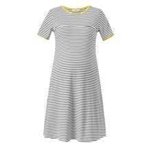 Maternity Short-sleeve Striped Nursing Dress