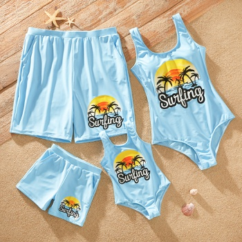 Family Look Coconut Tree Letter Pattern Print One-piece Matching Swimsuits